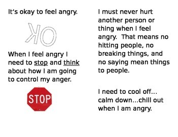 """""""When I Feel Angry"""" booklet"""
