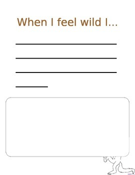 "When I Feel Wild I.... ""Where the Wild Things Are"" activity"