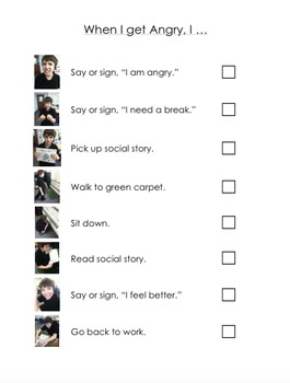 When I Get Angry Checklist for Positive Practice and Social Story **EDITABLE**
