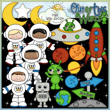 When I Grow Up: Astronaut - CU Clip Art & B&W Set