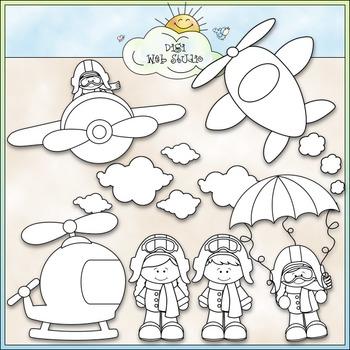 When I Grow Up: Aviator Clip Art - Airplane Pilot Clip Art - CU Clip Art & B&W