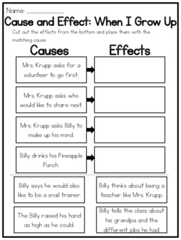 When I Grow Up Cause and Effect Worksheet