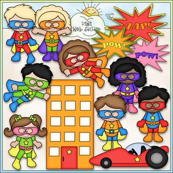 When I Grow Up: Superhero Clip Art - Superhero Kids Clip Art - CU Clip Art & B&W