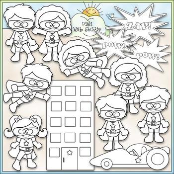 When I Grow Up: Superhero Clip Art - Superhero Kids Clip Art - CU Clip Art & B&W