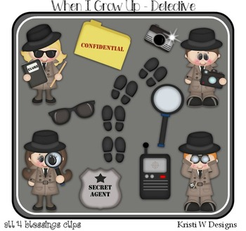 When I Grow Up..I Wanna Be..A Detective Clipart ~ Digital Graphics Career CU OK