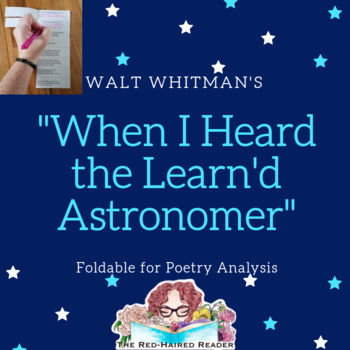 When I Heard the Learn'd Astronomer  Walt Whitman Foldable Poetry Analysis tool