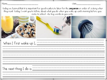 Sequence of Events Worksheet: When I Wake