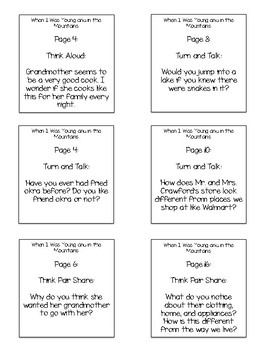 When I Was Young and in the Mountains Interactive Read Aloud Sticky Questions