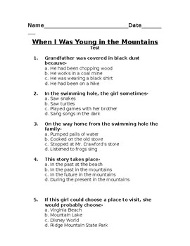 When I Was Young in the Mountains - Book Test