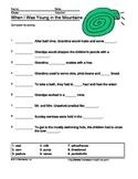 When I Was Young in the Mountains Questions Printable