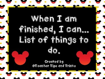 When I am finished, I Can List of Activities *Disney Themed*