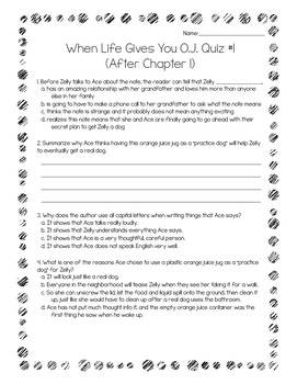 When Life Gives You O.J. Power Pack:  19 Journal Prompts and 19 Quizzes