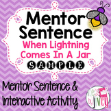 When Lightning Comes in a Jar: Free Mentor Sentence Lesson and Activity