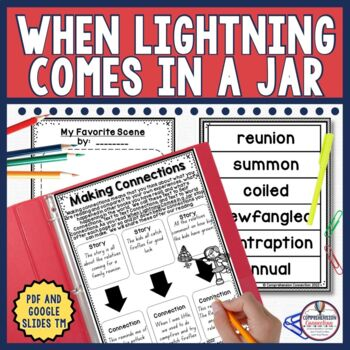 When Lightning Comes in a Jar is a great book about Patricia's family reunion. It's written on a high fourth grade level, and is the perfect mentor text for character analysis, author's craft, and writer's voice. This unit includes materials to use with a guided reading group in a before/during/after format in PDF and now in Digital using Google Slides TM. The skills included are listed in the resource description.