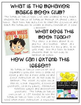 When Miles Gets Mad- Behavior Basics Book Club