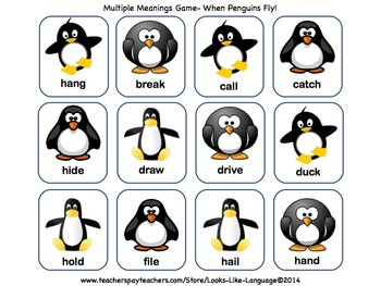 Homonyms: Multiple Meaning Vocabulary Word Game