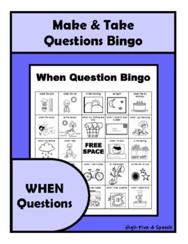 When Questions BINGO Make & Take, SPEECH THERAPY, Autism