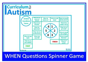 WHEN Questions Game Autism Special Education