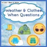 When Questions - Weather & Clothes Category Vocabulary  -