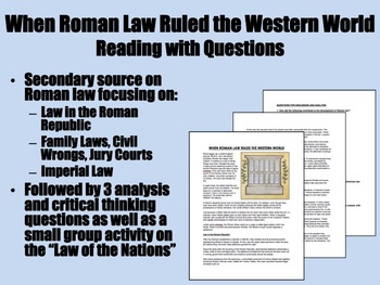 When Roman Law Ruled the Western World Reading with Questions - Global/World