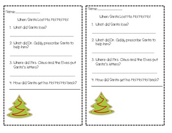 When Santa Lost His Ho! Ho! Ho! Comprehension Test