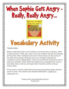 When Sophie Gets Angry-Really, Really Angry Vocabulary Activity