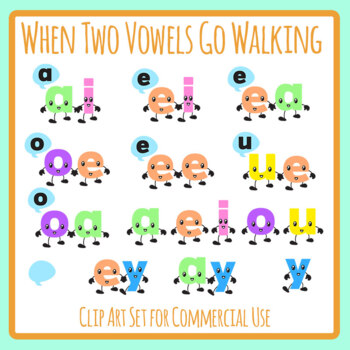 When Two Vowels Go Walking Phonics Color Clip Art Set for Commercial Use