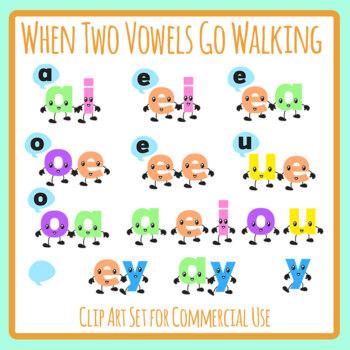 When Two Vowels Go Walking Phonics Color Clip Art Set for
