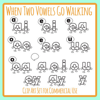 When Two Vowels Go Walking Phonics Line Art / Clip Art Set for Commercial Use