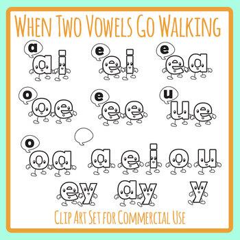When Two Vowels Go Walking Phonics Line Art / Clip Art Set
