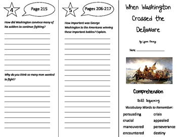 When Washington Crossed the Delaware Trifold - Storytown 5th Grade Unit 2 Week 3