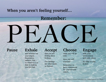 When You Aren't Feeling Yourself...PEACE Poster - Middle High Sch Students Ocean