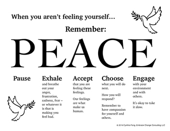 When You Aren't Feeling Yourself...PEACE Poster for Middle/High School Students
