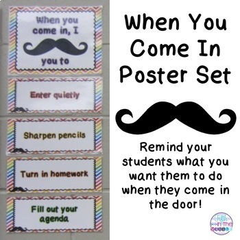 When You Come In Mustache Poster Set
