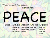 When You Don't Feel Good...PEACE Poster-Elem/Primary Schoo