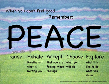 When You Don't Feel Good...PEACE Poster-Elem/Primary School Students Meadow