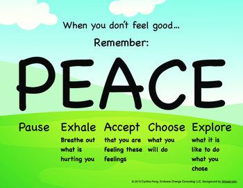 When You Don't Feel Good...PEACE Poster-Elementary/Primary