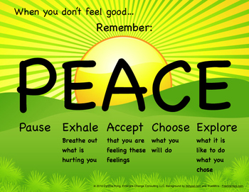 When You Don't Feel Good...PEACE Poster-Elementary/Primary School Students Sun