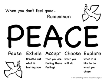 When You Don't Feel Good...PEACE Poster for Elementary/Primary School Students