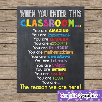 When You Enter This CLASSROOM Teacher Chalk it up Chalkboard Motivational Rules