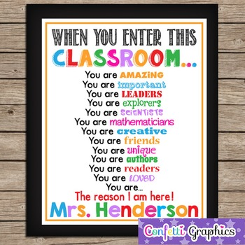 When You Enter This CLASSROOM Teacher School Motivational Rules Personalized