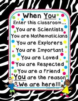 When You Enter This Classroom Motivational Poster Zebra Design