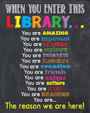 When You Enter This LIBRARY Teacher Motivational READING CENTER Sign Poster