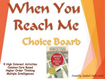 When You Reach Me Choice Board Tic Tac Toe Novel Activities Assessment Project