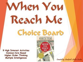 When You Reach Me Choice Board Tic Tac Toe Novel Activitie