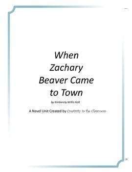 When Zachary Beaver Came to Town Novel Unit Plus Grammar