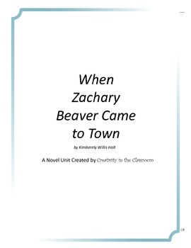 When Zachary Beaver Came to Town Novel Unit Plus Grammar