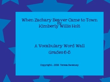 When Zachary Beaver Came to Town Word Wall