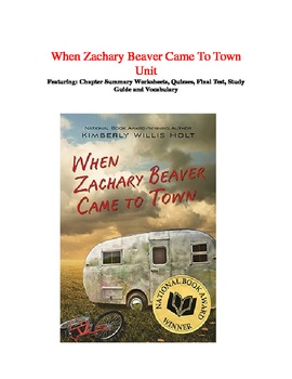 When Zachary Beaver Came to Town comprehensive Unit