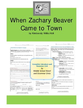 When Zachary Beaver Comes to Town Complete Literature and Grammar Unit